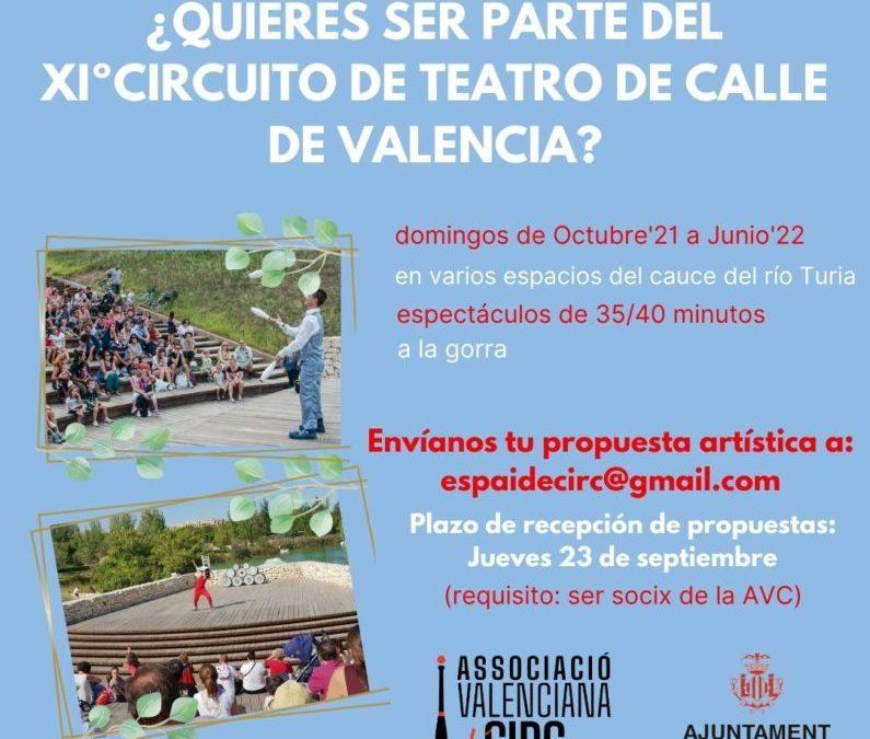 CONVOCATORIA ARTISTAS/COMPAÑÍAS PARA EL XIº CIRCUITO DE TEATRO DE CALLE DE LA CIUDAD DE VALENCIA